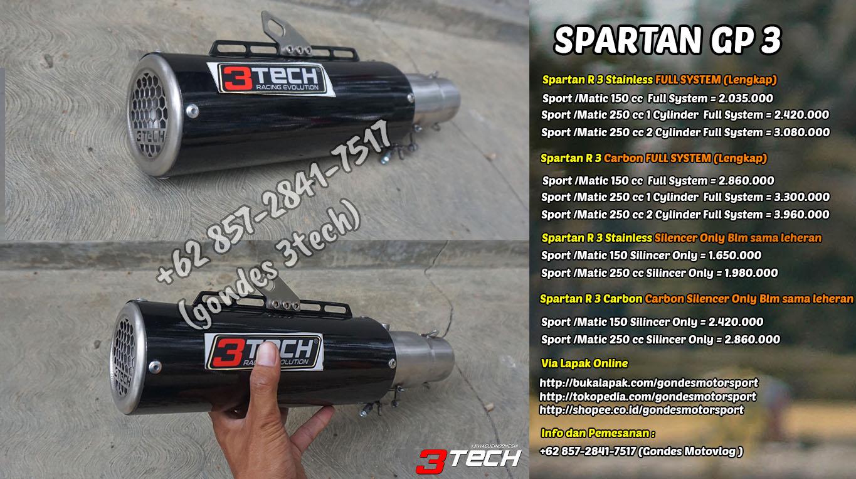 Harga Knalpot Spartan GP 3 Suara